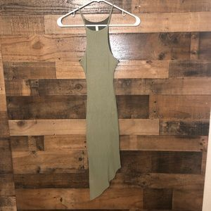 Tight fitting ribbed green dress